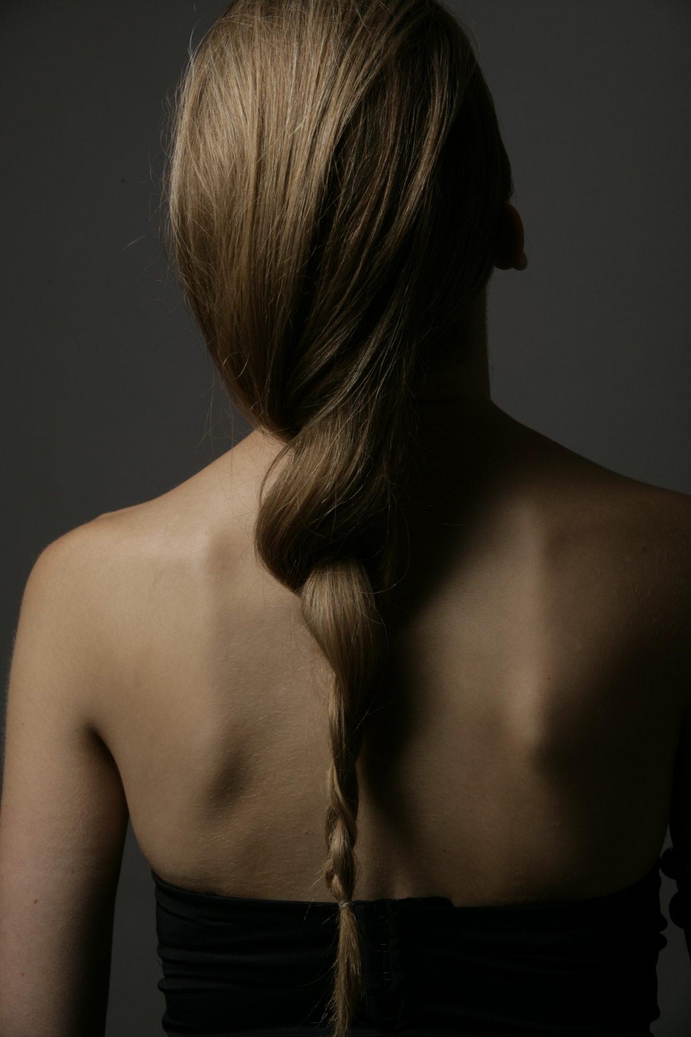 Brunette model hair down